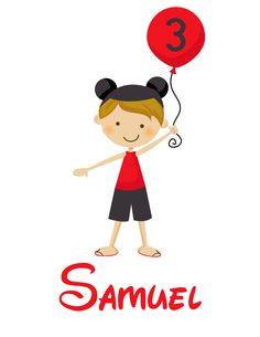 Personalized Boy With Mouse Ears and Balloon - Personalized with ANY name and age and to look like your child. $17.00, via Etsy.