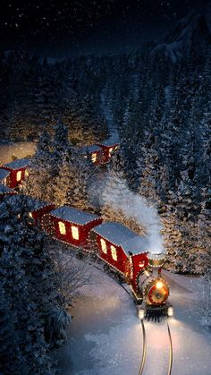 iPhone and Android Wallpapers: Christmas Train Wallpaper for iPhone and Android Christmas Scenery, Christmas Feeling, Christmas Train, Winter Scenery, Cozy Christmas, Christmas Lights, Vintage Christmas, Christmas Stuff, Christmas Time