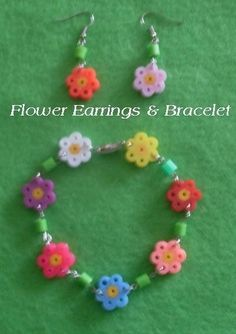 DIY Hamma bead bracelet and earrings - (pic only, but you can use string and beads to do your own thing... cute... Deb)