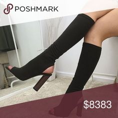 """⭐️LAST PAIR🔹The Black Noir Boots ⭐️⭐️⭐️⭐️⭐️ Rated 4"""" heels, about a 14"""" shaft with a little stretch, beautiful plaid lining, sturdy wooden heel, vegan suede & sexy as can be. They are the most comfortable heeled boots that you will own. Item is new, direct from maker without store tags. Birthday Anniversary gift present. Vacation cruise wedding Valentines Coachella spring break trendy shoes🔻IF YOU LIKE MY ITEMS, please FOLLOW ME to see NEW ARRIVALS. Posh Garden Shoes Over the Knee Boots"""