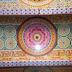 Ceiling in a Buddhist temple in Sri Lanka.