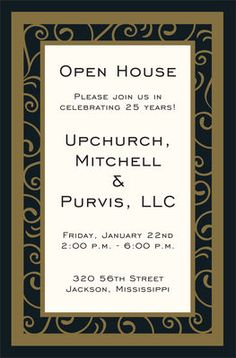 Black and Gold Vine Invitations