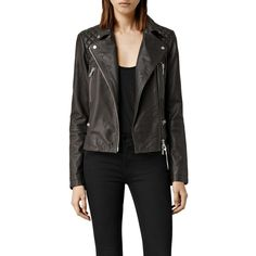AllSaints Bleeker Leather Biker Jacket, Granite (€370) ❤ liked on Polyvore featuring outerwear, jackets, short jacket, moto jacket, leather jacket, real leather jacket and slim biker jacket