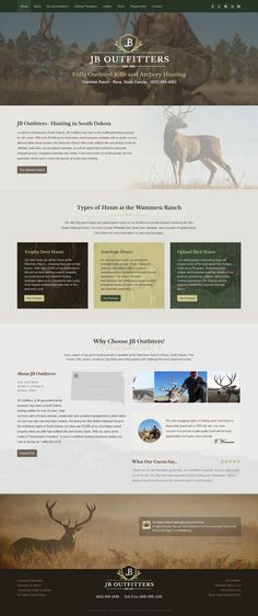 JB Outfitters - style built on 3 CMS. Fully responsive custom website by Webunderdog Trophy Hunting, Archery Hunting, Mule Deer, Custom Website, South Dakota, Website Template, Style, Bowhunting, Stylus