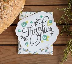 """Floral Thanks Card  Send your thanks with an intricate floral thank you card. The finished card measures 5"""" x 4"""" and comes with a matching envelope. The card uses images from the Cricut® Phrases and Baby Shower digital cartridges - all included in the Cricut® subscription.  xoxo, Anna Rose  DIY, created with a Cricut Expolore, creative cards, personal touch, handmade"""