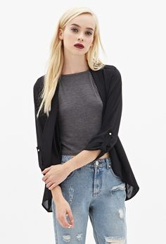 Embroidered Chiffon Cardigan   FOREVER21 - 2000138174