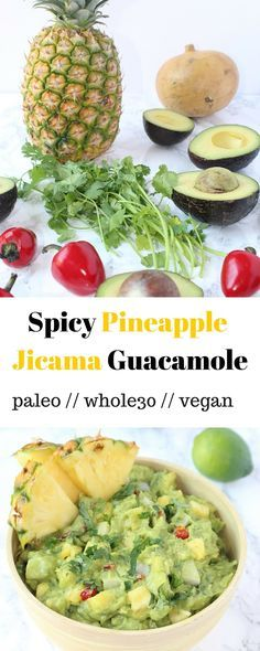 Spicy Pineapple Jicama Guacamole - avocado lovers rejoice with this spicy pineapple jicama guacamole. A summertime twist on your favorite dip! - Eat the Gains