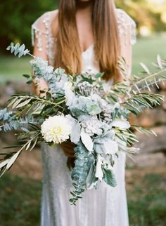 Grey tones and muted green for a wildly minimal style #cedarwoodweddings Trending :: Wildly Romantic Bridal Bouquets | Cedarwood Weddings