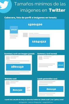 Tamaños mínimos de las imágenes en Twitter... #SocialMediaOP #Marketing #SocialMedia