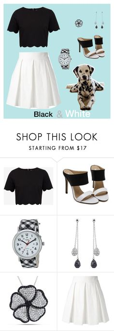"""""""Black & White"""" by katniss4117-1 ❤ liked on Polyvore featuring Ted Baker, Timex, Collette Z, Catherine Catherine Malandrino and Boutique Moschino"""