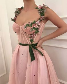 Details - Baby pink dress color - Mesh/net dress fabric - Handmade embroidery green and pink flowers,embroidered pearls and green velvet belt - Ball-gown dress style with waist definition and corset top - For prom,evenings and special occasions Grad Dresses, Ball Gown Dresses, Trendy Dresses, Elegant Dresses, Beautiful Dresses, Nice Dresses, Evening Dresses, Casual Dresses, Short Dresses