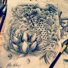 koi fish drawings | Freestyle koi fish drawing - my own design by ~12HighOnLife14 on ...