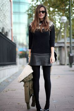 """Tights with Pumps--""""Love the mini skirt with the winter sweater!"""""""