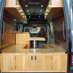 Van Conversions by Brawley Made and Vantage Point Custom vans, designing and building out custom cabinetry for these one-of-a-kind Sprinter van conversions. Sprinter Van Conversion, Custom Vans, Custom Cabinetry, Campervan, Van Life, Conversation, Woodworking, Building, Design
