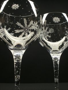 2 Snowflake Red Wine Glasses. Hand Engraved 'Floating Flakes'.