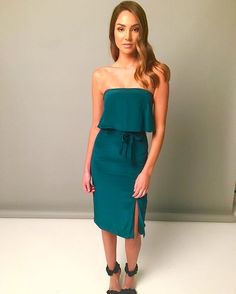 MUST HAVE  The Veleta Dress in Deep Green is now available in boutiques & online! Xx #kookai