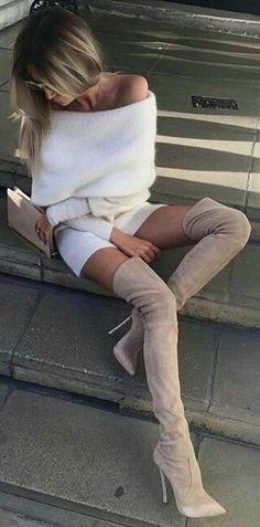 white and nude fall outfit : off shoulder sweater + shorts + bag + over the knee boots