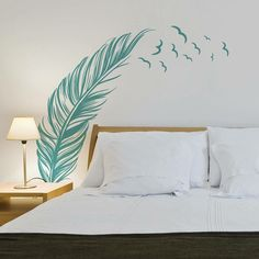 New Feather Wall Stickers Home Office Decor Removable Vinyl Mural Art Decal US ^ Home Office Decor, Home Decor, Wall Stickers Home, Wall Design, Decoration, Bedroom Decor, Interior, Decorating Ideas, Mural Art
