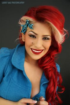 red and blonde vintage look hairstyle #alternative #rockabilly