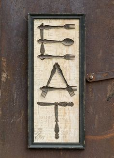 Wood & Metal Antique Silverware 'EAT' Sign
