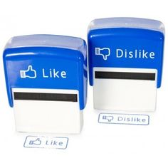 """Facebook """"Like"""" and """"Dislike"""" stamps. This could get really, really messy around Molassy.com HQ!"""