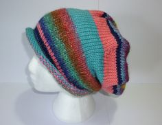 Slouchy beanie. Slouchy hat. Colourful beanie. Multi colour hat. Knit slouch…