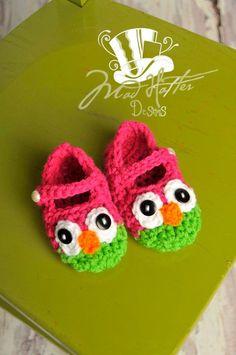 Crochet Owl Slippers Kanskje ikke akkurat denne varianten, men liker tanken på ugletøffler