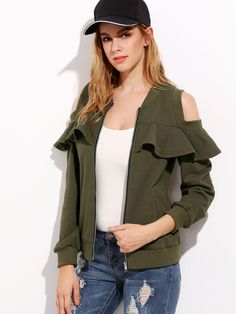 Army Green Open Shoulder Ruffle Bomber Jacket — 0.00 € ----------color: Green size: L,M,S,XS