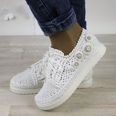 White sneakers with beading, women's – shop online on Livenmaster with shipping Crochet Shoes Pattern, Crochet Boots, Shoe Pattern, Crochet Slippers, Striped Slippers, Hello Kitty Crochet, Boho Shoes, Cute Outfits With Jeans, Knit Shoes