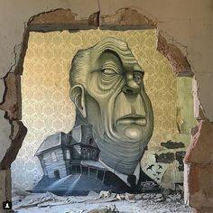 Alfred Hitchcock Street art ©DavidL Barcelona