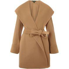 Lauren by Ralph Lauren Shale wrap coat ($280) ❤ liked on Polyvore featuring outerwear, coats, jackets, tops, camel, women, camel wool coat, waterproof wool coat, knee length coat и camel coat