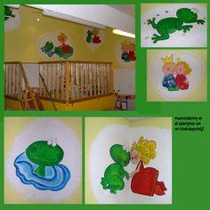 muurschildering op een kinderdagverblijf. 'De kikkergroep' vroeg om lieve schilderingen en er ontstonden de kikkers met prinses!