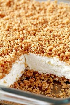 Easy Pineapple Dream Dessert a light, no bake creamy dessert Easy Pineapple Dream Dessert made of crushed pineapple, cream cheese, whipped cream and crunchy graham cracker layer, topped with graham cracker crumbs. Frozen Desserts, Easy Desserts, Delicious Desserts, Yummy Food, Cheesecake Desserts, Light Summer Desserts, Raspberry Cheesecake, Homemade Desserts, Gourmet Recipes