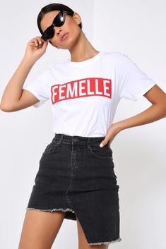 Femelle T-shirt featuring short sleeves, crew neck and a relaxed fit.Femelle T-shirtShort sleevesCrew neckRelaxed fitModel wears: SModels height: inches Slogan Tee, Campaign, T Shirt, Crew Neck, Short Sleeves, Tees, How To Wear, Clothes, Collection