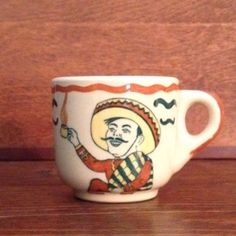 Wallace-China-Desert-Ware-Demitasse-Coffee-Cup-Mexican-Hombre-Man-Restaurant