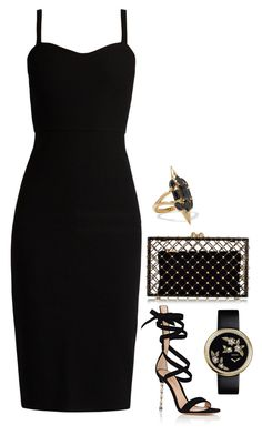 """Smoke screen of the crowded restaurant."" by lowrilester ❤ liked on Polyvore featuring MaxMara, Noir Jewelry, Charlotte Olympia and Gianvito Rossi"