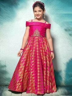 Deep Pink Color Jacquard Hand Work Party Wear Long Gown For Kids Product Details : Add glamour to your ethnicity by adding this deep pink color party wear gown. Crafted of jacquard fabric this beautiful gown comes with santoon inner. This gown looks Long Frocks For Kids, Frocks For Girls, Gowns For Girls, Dresses Kids Girl, Baby Dresses, Trendy Dresses, Girls Frock Design, Kids Frocks Design, Baby Dress Design