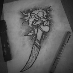 """""""Primal Offering"""" Sacrificial dagger available for tattoo! #flashaddicted #flashtattoo #flash #neotraditional #neotraditional #neotraditionalflash #neotraditionalskull #neotraditionaltattoo #blackwork #blackworkflash #blackworkdesign #btattooing #daggertattoo #flowertattoo #skull #skullart #skulltattoo"""