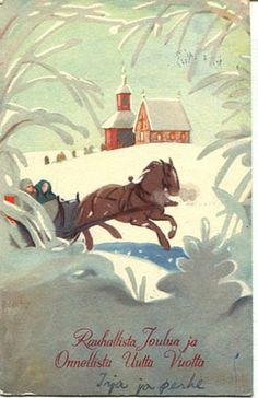 Martta Wendelin Vintage Christmas Cards, Christmas Greeting Cards, Holiday Cards, Dashing Through The Snow, New Year Card, Christmas And New Year, Vintage Postcards, Scandinavian Design, Martini