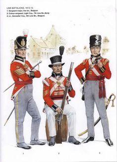 Britishs Line Battalions 1813-15 1-Sergeant-major, line Battalion, Belgium 2-Colour-sergeant, Light coy , 7th Line Batttalion, Sicily 3-Lieutnant-Grenadier coy, 5th Line batallion, Belgium