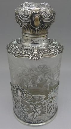 Perfumero alemán de cristal y plata