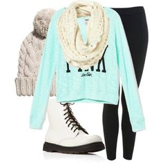 Winter Outfit Idea with Knitted Hat and Scarf