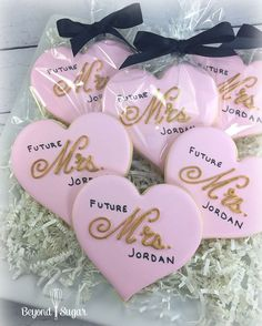 Bridal shower cookies | Future Mrs. | Decorated Heart Cookies