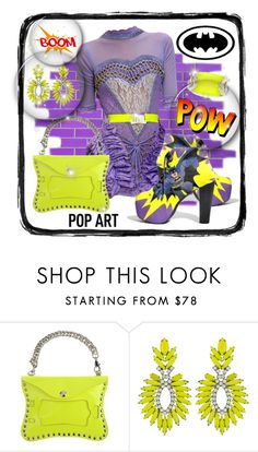 """""""Pop Art Batman inspired"""" by leanne-mcclean ❤ liked on Polyvore featuring Christopher Kane, Luxury Fashion, Elizabeth Cole and Alexis Bittar"""