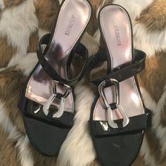 Alfani heels Slip on open toe alfani heels .. Black with buckle in middle .. Good condition. Few tiny nicks inside shoe. Mid height heel Alfani Shoes Heels