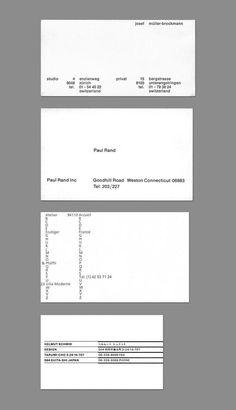 Ultra Minimalist business cards of Famous designers: Josef Müller-Brockmann, Paul Rand, Adrian Frutiger and Helmut Schmid. Typography Layout, Graphic Design Typography, Graphic Design Illustration, Identity Design, Visual Identity, Logo Design, Brand Identity, Ppt Design, Personal Identity
