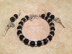 Lock and key, silver and black handmade bracelet Www.facebook.com/BayouBlingLA