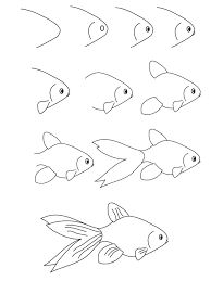 Image result for dessin par étape poisson