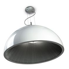 Kitchen Pendants - The Umbrella Pendant Light by WIS Design has a White Lacquered Outer Shade with a Pleated Silver Interior Shade. Designed to be Fitted with Three Energy Kitchen Pendant Lighting, Kitchen Pendants, White Pendant Light, Gold Interior, Candelabra, Bulb, Shades, Ceiling Lights, Silver
