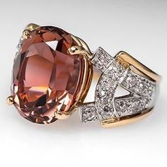 PINK TOURMALINE COCKTAIL RING W/ OLD EURO DIAMONDS PLATINUM & 18K GOLD